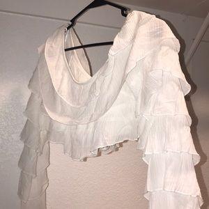 Princess Polly Tops - Princess Polly Cropped Ruffled Shirt